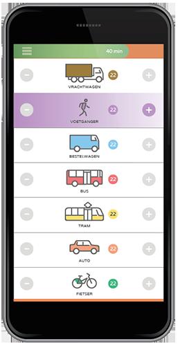 Telscherm van de Straatvinken app